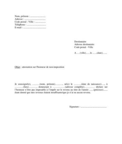Exemple De Lettre D Attestation Sur L Honneur De Non Imposition
