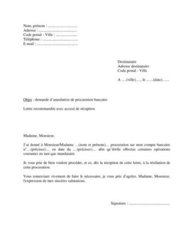Modèle de lettre pour demander l'annulation d'une ...