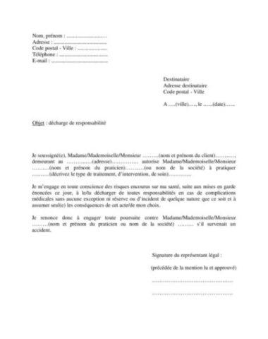 Modèle lettre décharge responsabilité médicale