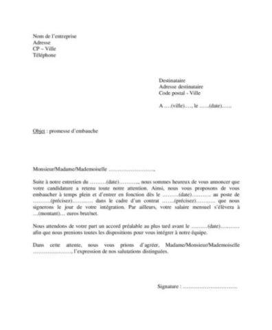 Modele De Lettre De Promesse D Embauche D Un Employeur