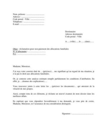 Modèle lettre réclamation pour non-paiement allocations familiales