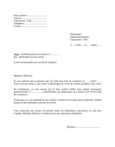 Modele Lettre De Resiliation D Assurance Professionnelle Pour Vente Du Fond De Commerce