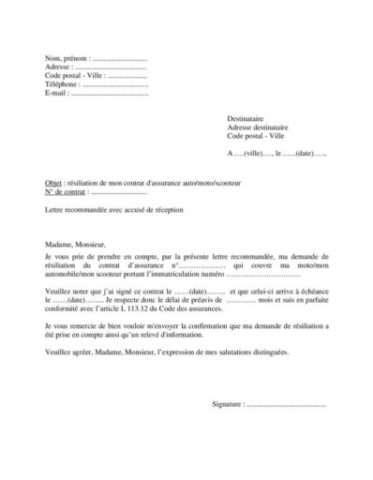 Modèle lettre résiliation contrat assurance pour moto scooter